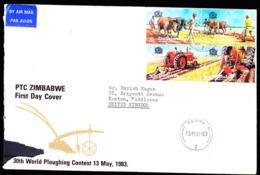 ZIMBABWE (1983) World Ploughing Contest.  FDC Addressed To The UK.  Scott Nos 462-3. - Zimbabwe (1980-...)