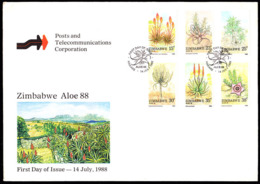 ZIMBABWE (1988) Aloes And Succulents. Official FDC With Cachet. Scott Nos 566-71. - Zimbabwe (1980-...)