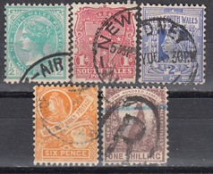 NSW 1905 - MiNr: 93-95+98+101  Wz12  Used - 1850-1906 New South Wales