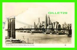NEW YORK CITY, NY - BROOKLYN BRIDGE AND LOWER MANHATTAN SKYLINE - TRAVEL IN 1948 - PHOTO POST CARD - - Brooklyn