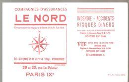 Buvard LE NORD Compagnies D'assurances 20 Et 22 Rue Le Peletier Paris IX ème Couleur Rouge - Bank & Insurance