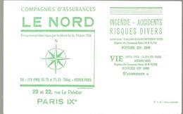 Buvard LE NORD Compagnies D'assurances 20 Et 22 Rue Le Peletier Paris IX ème Couleur Verte - Banque & Assurance