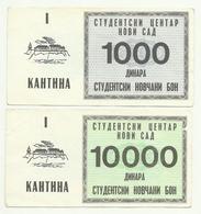 Yugoslavia , Student Center Novi Sad 2 X BON - Coupon For Canteen , 10000 1000 Din. 1988 ,infla Time - Yugoslavia
