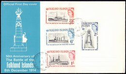 FALKLAND ISLANDS - Battle Ships ; GLASGOW, KENT, INVINCIBLE -MONUMENT  - FDC - 1964 - Boten