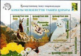 KAZAKHSTAN, 2018, MNH,  BUTTERFLIES,  GOATS, FLOWERS, MOUNTAINS, SHEETLET - Papillons