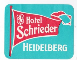 Etiquette De Bagage Valise Tag Valigia Hotel Schrieder  Heidelberg (Germany)  état Neuf - Advertising