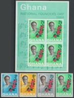 Ghana, 1964 Founder's Day - Stamps + Minisheet - MNH - BJ-45 - Ghana (1957-...)
