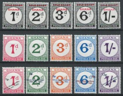 Ghana, 1958 1965 Postage Due Numeral Stamps - 3 Series Set - MNH - BJ-61 - Ghana (1957-...)