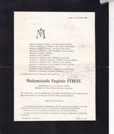 LIEGE NOVILLE Eugénie STREEL 63 Ans 1928 Famille GREGOIRE De BECO Faire-part Mortuaire - Overlijden