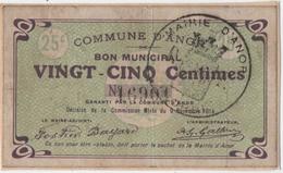 ANOR (59) BON MUNICIPAL. VINGT-CINQ CENTIMES. CACHET De La MAIRIE. 1914. - Bons & Nécessité