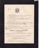 BOUVIGNES BRACQUEGNIES Marie HENRI épouse Léonard GENART 1851-1919 Faire-part PIERART PONCELET - Décès