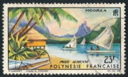 POLYNESIE 1964 - Yv. PA 9 Obl.   Cote= 4,00 EUR - Paysage De Moorea  ..Réf.POL23466 - Aéreo
