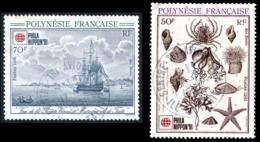 POLYNESIE 1991 - Yv. 393 Et 394 Obl.   Cote= 2,20 EUR - Expo Phil. Philanippon'91 (2 Val.)  ..Réf.POL23492 - Polynésie Française