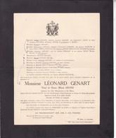 FOSSES LOUVAIN Léonard GENART Ancien Directeur-gérant Charbonnages Usines De STREPY-BRACQUEGNIES 1850-1922 - Décès