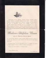 FOSSES Veuve Charles GENART Née Adolphine WINSON 68 Ans 1895 Famille DOCHEN FRERE - Décès