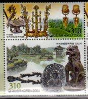 2004 South Korea - UNESCO HEritage In S. Korea - Gyeongju, Silla-Dynasty - MNH** MiNr. 2449 - 2450 Buddha, Lions, Dragon - Corée Du Sud