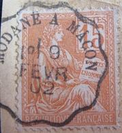 """DF50500/6 - TYPE MOUCHON (sur Fragment) N°117 ☉ Cachet Convoyeur """" MODANE à Maçon """" Du 9 FEV 1902 - 1900-02 Mouchon"""
