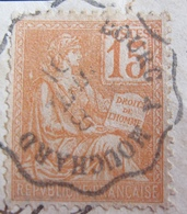"""DF50500/7 - TYPE MOUCHON (sur Fragment) N°117 ☉ Cachet Convoyeur """" BOURG à MOUCHARD """" Du 8 JUILLET 1901 - France"""