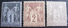 DF50500/9 - SAGE TYPE II N°83 + 85 + 87 (*) - 1876-1898 Sage (Type II)