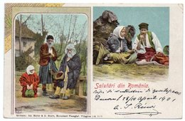 ROMANIA/ROUMANIE - SALUTARI  DIN ROMANIA - OLD COLOUR LITHO / COSTUMES - Romania