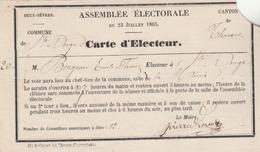 Carte D'électeur  De Ste Verge, Canton De Thouars Pour L'élection De Conseillers Municipaux. (TTB) - Cartes
