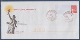 = Enveloppe Entier 21ème Université D'été De La Communication Hourtin 21.8.2000 Type 3083 Liberté Egalité Fraternité - Marcophilie (Lettres)