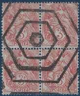 France Type Blanc N°109, 3c Rouge Orange  Bloc De 4 Annulé Barre Hexagonale - 1900-29 Blanc