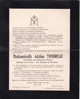 PERUWELZ Adeline TONDREAU 87 Ans 1907 Famille LOISEAU FORTAMPS - Overlijden
