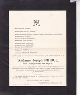 CRAS-AVERNAS Marguerite PASQUE épouse Joseph NIHOUL 71 Ans 1951 Mère Du Sénateur Joseph NIHOUL Famille GREGOIRE - Overlijden