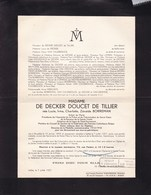 ALOST IXELLES Lucie BORREMAN épouse De DECKER DOUCET De TILLIER 1899-1957 Faire-part - Décès