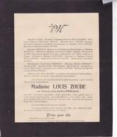 SAINT-HUBERT HATRIVAL Thérèse PERLEAU épouse Louis ZOUDE 1831-1925 Familles HOLLANDERS HOUTART CLAES - Overlijden