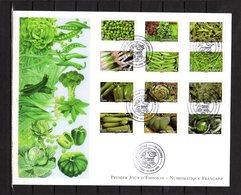 """"""" 2012 : LEGUMES POIVRON COURGETTE LAITUE POIREAU CHOU .... """" Sur Env 1er Jour Grand Format N°YT ADH 739 à 750 Parf état - Légumes"""