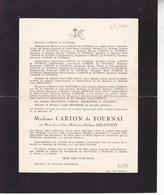 ENGHIEN TOURNAI Maria-Lucia DELANNOY épouse CARTON De TOURNAI 1880-1949 - Décès