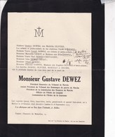 MELLIER JAMBE Gustave DEWEZ Président Honoraire Du Tribunal De Marche 1848-1925 Familles OLIVIER DEOME - Overlijden
