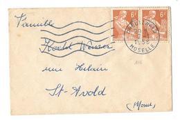 57 – MOSELLE « CREUTZWALD »  Carte De Visite Sous Enveloppe Ouverte - 5 Mots - Tarif à 12F.  (1.7.1957/5.1.1959)  N°1115 - Marcophilie (Lettres)