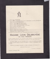 CHARLEROI Emma FRANCOIS épouse Léon DELBRUYERE 1837-1920 Familles HOUTART DULAIT DEWANDRE - Overlijden