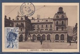 = Grenoble L'Hotel Des Postes Isère Grenoble RP 7.4.1950 Timbre 863 Facteur Rural, Carte Postale - Marcophilie (Lettres)