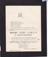 HOUFFALIZE Mathilde URBIN-CHOFFRAY épouse Lucien LAMBIN 1855-1934 Faire-part Mortuaire - Décès