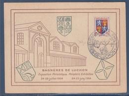 = Exposition Philatélique Bagnères De Luchon 24-25.7.1954 N°958 Gascogne Et N°956 Célimène Carte Postale - Marcophilie (Lettres)