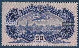 Poste Aérienne N°15 ** 50 Fr Burelé Burelage Normal Fraicheur Postale Signé Calves - Poste Aérienne