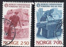 1986 NORWAY 2 Values: 2.50 Kr & 7.00 Kr Used Stamps Complete Set Federation Craftsmen Michel No. 944-945 - Norvège
