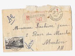 06 – Alpes Mmes « ROQUESTERON » LRI Avec AR 1er Ech. - Tarif à 50F. (6.1.1949/30.6.1957)  * LI 1°/20gr. : 15f. + DF Rec. - Marcophilie (Lettres)