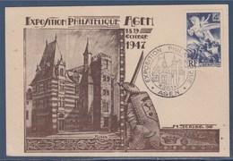 = Exposition Philatélique Agen 18-19.10.47 Carte Postale Cercle Philatélique De L'Agenais Timbre N° 669 - Marcophilie (Lettres)