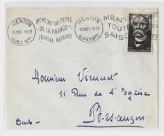06 – Alpes Mmes « MENTON » LSI - 20gr. - Tarif à 15F. (6.1.1949/30.6.1957) N°918 - 15F + 5F G. CLEMENCEAU - Marcophilie (Lettres)