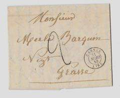 VAR (78)  « CANNES » LSI - 7,5gr. - En Tarif à 20c.  (1.1.1849/30.6.1850)  * Lettre Non-Affranchie = Taxe à L'Insuffisan - Marcophilie (Lettres)