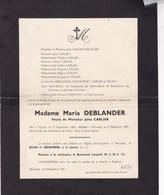 ENGHIEN PERUWELZ Maria DEBLANDER Veuve Jules CARLIER 1869-1941 Faire-part Mortuaire CHEVALIER SOLVAY - Décès