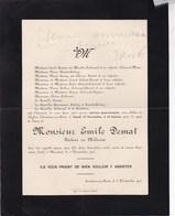 MAREDRET ERMETON-sur-BIERT Docteur Emile DEMAT 1906 Familles COLONVAL DEJEAN De PONTHIERE - Décès