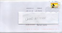 """2018- Tp Adhésif """" Mickey & La France"""" --Mont St Michel --seul Sur Lettre-------- - Marcophilie (Lettres)"""