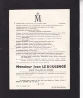 YVOIR Grand Invalide De Guerre 14-18 Jean LE BOULENGE 1888-1947 Famille LEBBE LAURENT - Overlijden