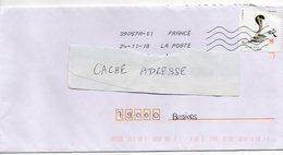 """2018- Tp Adhésif """" Signes De L' An Chinois """" --Serpent  --seul Sur Lettre-------- - Marcophilie (Lettres)"""